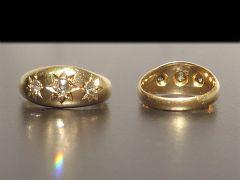 Antique Edwardian 18ct Gold Triple Diamond Ring