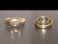 Antique 18ct Gold Diamond & Ruby Heavy Unisex Ring