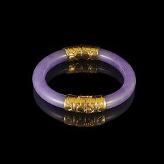 Vintage 18ct Gold Lavender Jade Bangle