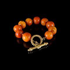 Vintage 18KT Gold Apple Sponge Coral Bead Bracelet