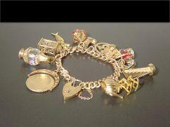 Unique Antique 9ct Gold Charm Bracelet