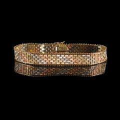 Vintage Italian 9ct Tri-Colour Gold Mesh Bracelet