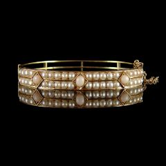Antique 18ct Gold Pearl & Rose Quartz Bracelet