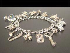 Vintage Double link Silver Charm Bracelet