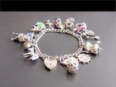 Vintage Silver Multi-Link Charm Bracelet