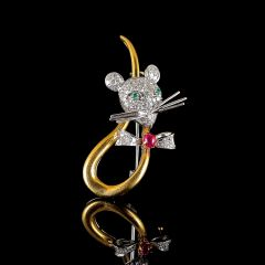 Vintage 18ct Gold Diamond Emerald & Ruby Mouse Brooch