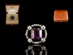 Vintage 18ct Gold & Platinum Amethyst & Diamond Art Deco Brooch