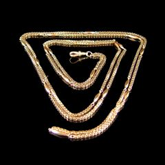 """Antique 9ct Gold 58 """" Long Guard Muff Chain"""