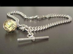 Antique Silver Albert Chain & Newcastle Souvenier Fob