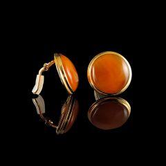 Vintage 18KT Gold & Carnelian Disc Earrings Side