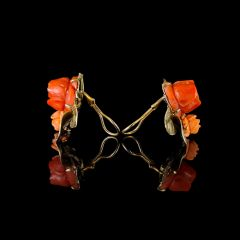 Vintage 14KT Gold Red & Pink Carved Coral Rose Earrings