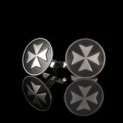 Vintage Silver & Onyx Maltese Cross Cufflinks