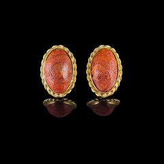 Vintage 18KT Gold Chunky Natural Unpolished Red Coral Earrings