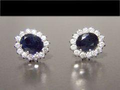 Vintage 18ct White Gold Sapphire & Diamond Cluster Earrings