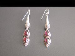 Vintage Silver & Garnet Tear Drop Earrings
