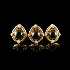 Vintage 14KT Gold Black Jade & Diamond Jewellery Set