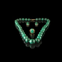 Vintage French 18KT Gold & Green Malachite Jewellery Set