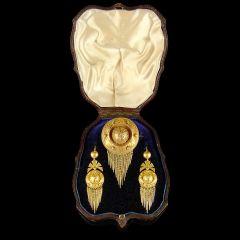 Antique Boxed Gold Gilt Tassel Jewellery Set