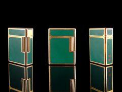 Vintage 18ct Gold S.T. Dupont Green Laque De Chine Lighter