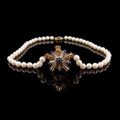 Vintage 9ct Gold Diamond & Sapphire Pearl Necklace