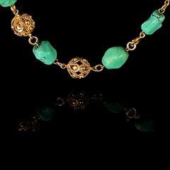 Vintage 14KT Gold Bobble & Turquoise Nugget Necklace Bobble