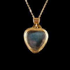 Antique 9ct Gold Amethyst & Pearl Puffy Heart Pendant Back