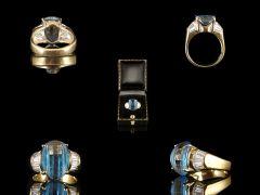 Vintage Silver Gilt Blue Topaz & Rhinestone Art Deco Ring