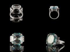 Vintage 18ct W/Gold Aquamarine & Diamond Art Deco Ring