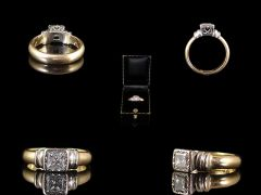 Vintage 18ct Gold & Platinum .70ct Diamond Art Deco Engagement Ring