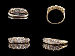 Victorian 18ct Gold 5 Stone 1.30CT Diamond Eternity Ring