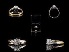 Antique 18ct Gold & Platinum .62CT Diamond Engagement Ring