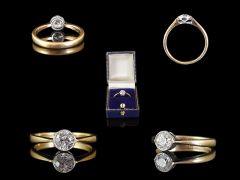 Vintage 18ct Gold & Platinum .72ct Diamond Art Deco Engagement Ring