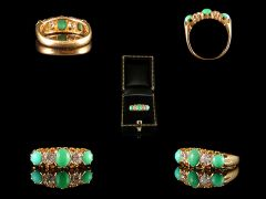 Antique 18ct Gold Turquoise & Diamond Ring