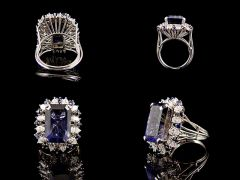 Vintage 18ct White Gold Lolite & Diamond Cluster Ring All Angles