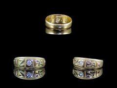 Antique 18ct Tri-Colour Gold Diamond Mizpah Ring All Angles