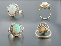 Vintage 18ct Gold Opal & Diamond Cocktail Ring