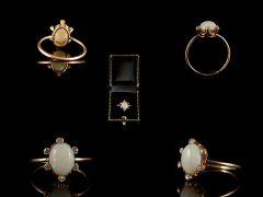 Antique 18ct Gold Opal & Diamond Ring Set