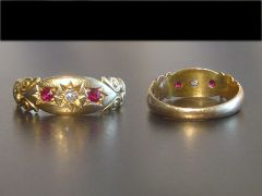 Antique 18ct Gold Ruby & Diamond Triple Set Ring