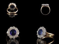 Antique 18ct Gold & Plat Sapphire & Diamond Cluster Ring