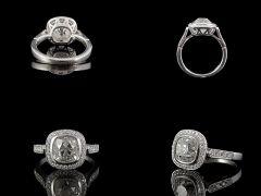 Vintage 18ct W/Gold 2.59ct Diamond Art Deco Engagement Ring