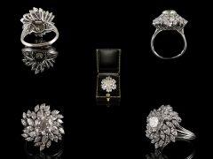 Vintage Platinum 6.03ct Diamond Cluster Ring