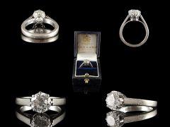 Vintage 18ct White Gold 1.50CT Diamond Engagement Ring