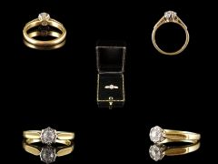 Antique 18ct Gold .24ct Diamond Solitaire Engagement Ring