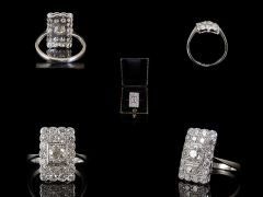 Vintage Platinum 2.88ct Diamond Art Deco Cluster Ring