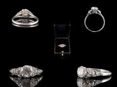Antique Platinum 1.36ct Diamond Engagement Ring