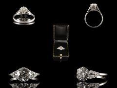 Vintage Platinum 1.96ct Diamond Art Deco Engagement Ring