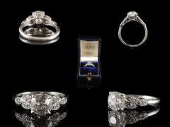 Vintage Platinum 1.35CT Diamond Engagement Ring All Angles
