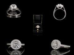 Vintage Platinum 1.85ct Diamond Art Deco Halo Ring