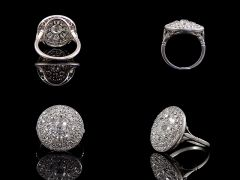 Vintage Platinum 2.56ct Diamond Art Deco Cluster Ring