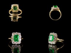 Vintage 18ct Yellow Gold Emerald & Diamond Art Deco Ring